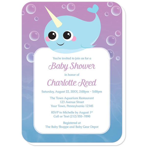 Cute Happy Narwhal Baby Shower Invitations (rounded corners) at Artistically Invited