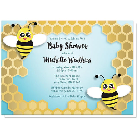 Cute Honeycomb Bee Baby Shower Invitations at Artistically Invited