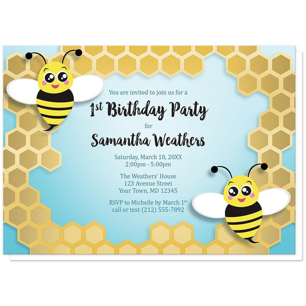 Cute Honeycomb Bee Birthday Party Invitations at Artistically Invited