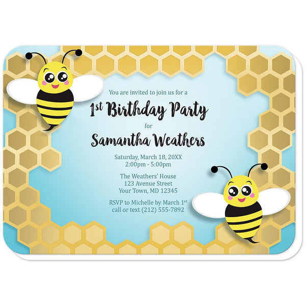 Cute Honeycomb Bee Birthday Party Invitations (rounded corners) at Artistically Invited