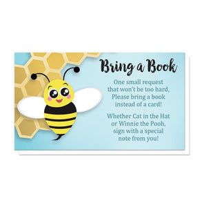 Cute Honeycomb Bee Bring a Book Cards at Artistically Invited