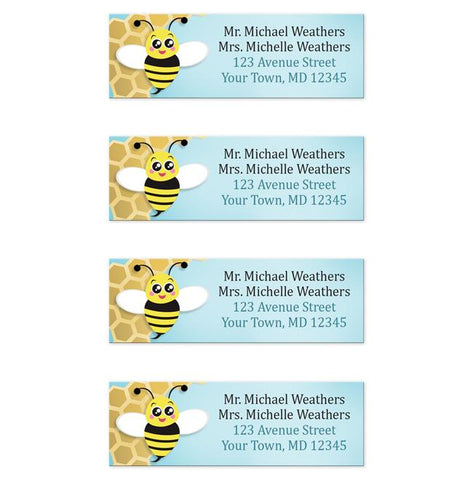 Cute Honeycomb Bee Return Address Labels