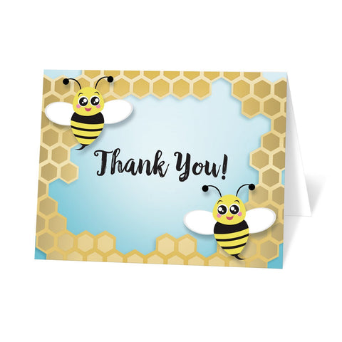 Bee Thank You Cards - Cute Honeycomb Bee Thank You Cards at Artistically Invited