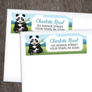 Cute Panda with Bamboo - Panda Address Labels at Artistically Invited