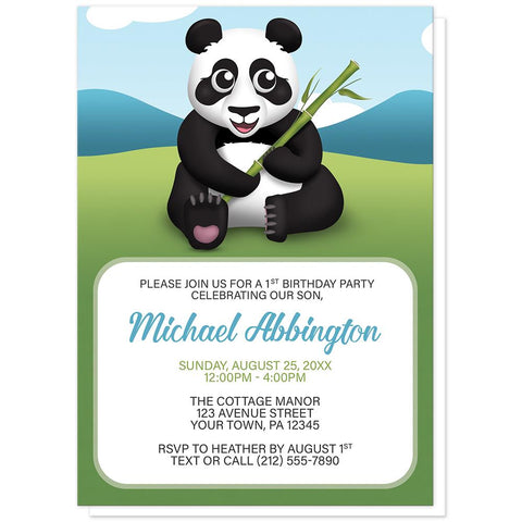 Cute Panda with Bamboo - Panda Birthday Party Invitations at Artistically Invited