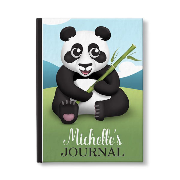 Personalized Cute Panda with Bamboo, Panda Journal - 5 x 7, at Artistically Invited