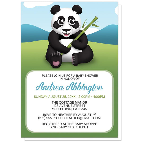 Cute Panda with Bamboo - Panda Baby Shower Invitations at Artistically Invited