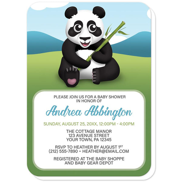 Cute Panda with Bamboo - Panda Baby Shower Invitations (rounded corners) at Artistically Invited