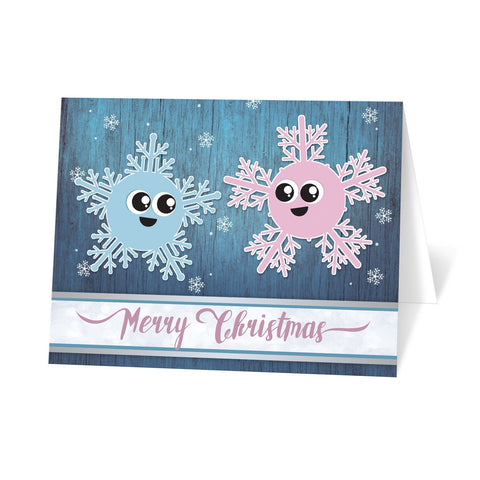 Cute Blue Rustic Winter Snowflakes Merry Christmas Cards at Artistically Invited