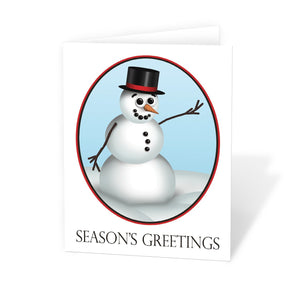 "Cute and Classy Snowman ""Season's Greetings"" Christmas Cards at Artistically Invited"