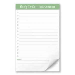Daily To-Do List in Green - Task Checklist 5.5 x 8.5 Notepad at Artistically Invited