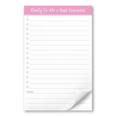 Daily To-Do List in Pink - Task Checklist 5.5 x 8.5 Notepad at Artistically Invited