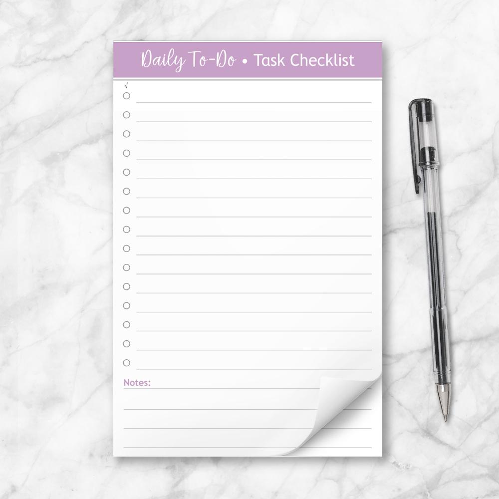 Daily To-Do List in Purple - Task Checklist 5.5 x 8.5 Notepad at Artistically Invited