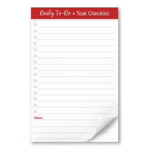 "Daily To-Do List in Red - Task Checklist 5.5"" x 8.5"" Notepad - Artistically Invited"