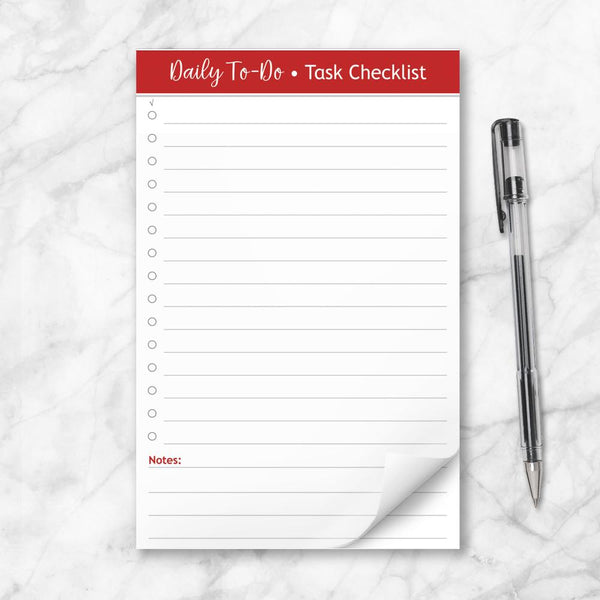 Daily To-Do List in Red - Task Checklist 5.5 x 8.5 Notepad at Artistically Invited