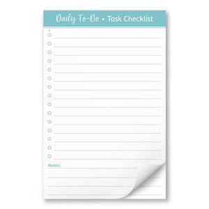 Daily To-Do List in Turquoise - Task Checklist 5.5 x 8.5 Notepad at Artistically Invited