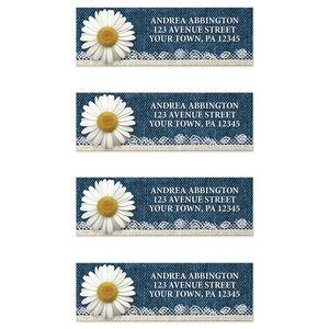 Daisy Burlap and Lace Denim Address Labels at Artistically Invited