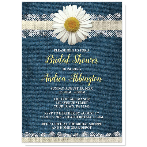 Daisy Burlap and Lace Denim Bridal Shower Invitations at Artistically Invited