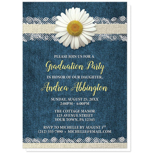 Daisy Burlap and Lace Denim - Daisy Graduation Invitations at Artistically Invited