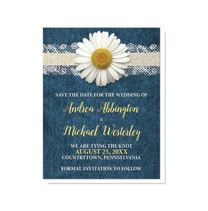 Daisy Burlap and Lace Denim Save the Date Cards