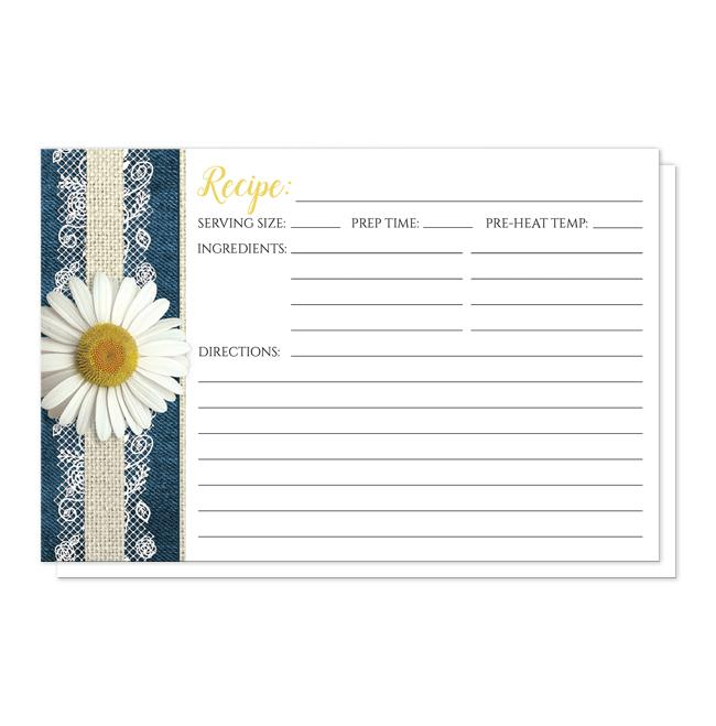 Daisy Burlap and Lace Denim Recipe Cards at Artistically Invited