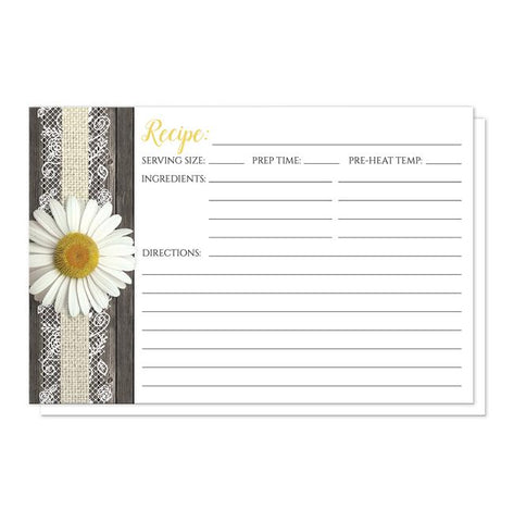 Daisy Burlap and Lace Wood Recipe Cards