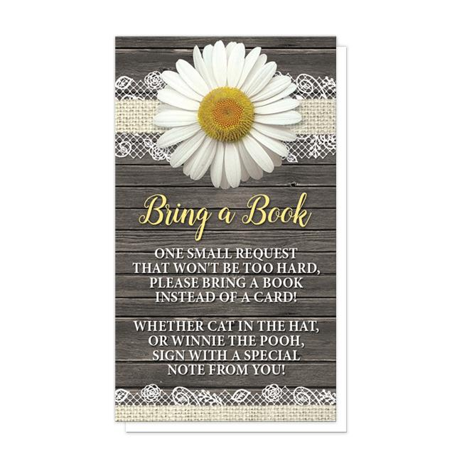Daisy Burlap and Lace Rustic Wood - Daisy Bring a Book Cards at Artistically Invited