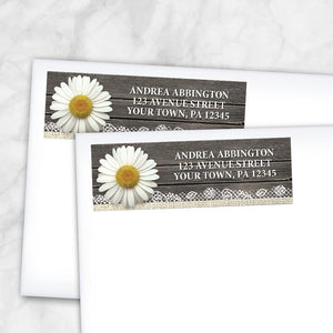 Daisy Burlap and Lace Wood Address Labels at Artistically Invited