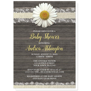 Daisy Baby Shower Invitations - Daisy Burlap and Lace Wood Baby Shower Invitations at Artistically Invited