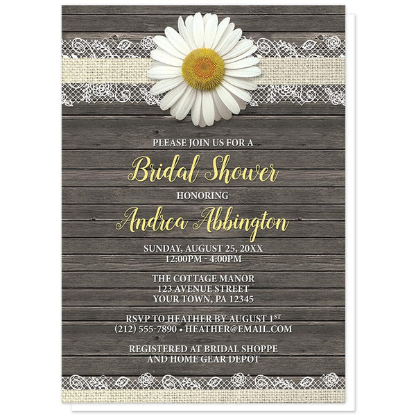 Daisy Burlap and Lace Wood - Daisy Bridal Shower Invitations at Artistically Invited