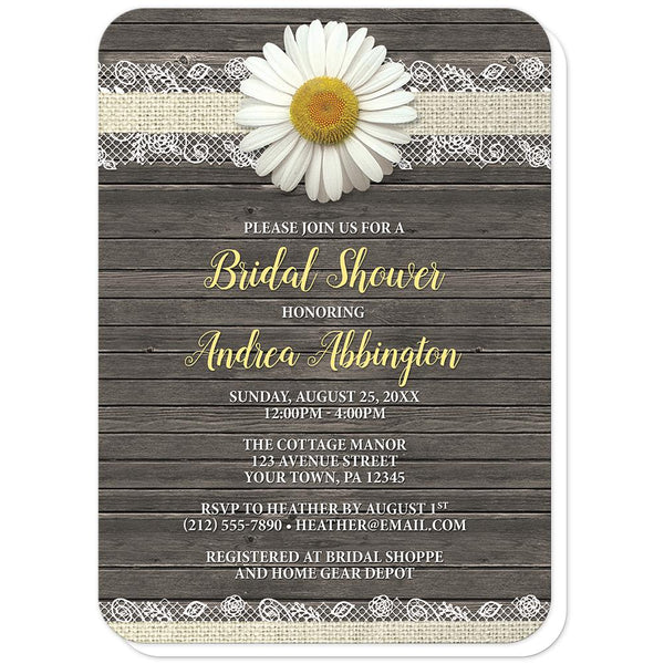 Daisy Burlap and Lace Wood - Daisy Bridal Shower Invitations (rounded corners) at Artistically Invited