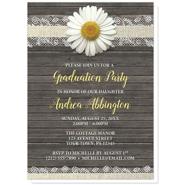 Daisy Burlap and Lace Wood - Daisy Graduation Invitations at Artistically Invited