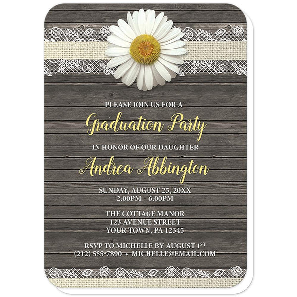 Daisy Burlap and Lace Wood - Daisy Graduation Invitations (rounded corners) at Artistically Invited