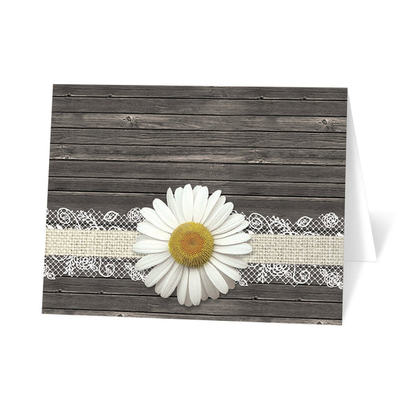 Daisy Burlap and Lace Wood Note Cards at Artistically Invited - Daisy Thank You Cards
