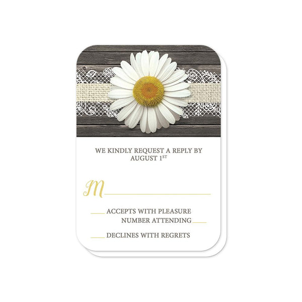 Daisy Burlap and Lace Wood - Daisy RSVP cards (rounded corners) at Artistically Invited