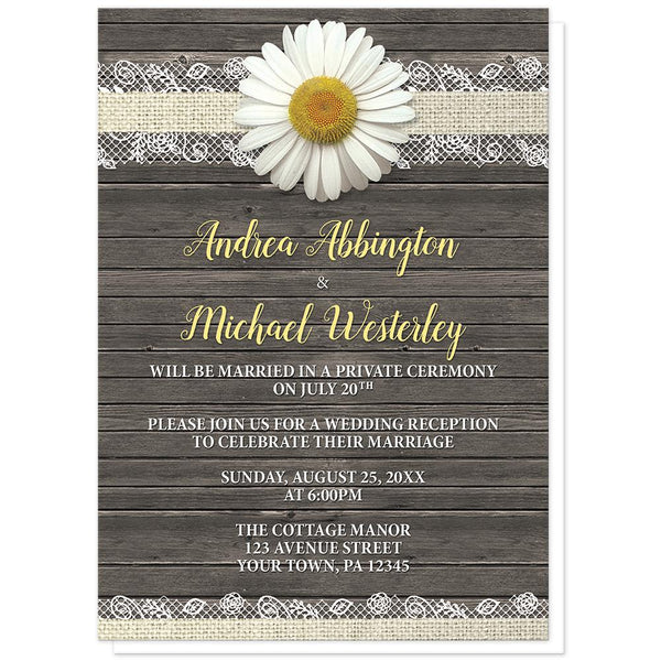 Daisy Burlap and Lace Wood - Daisy Reception Only Invitations at Artistically Invited