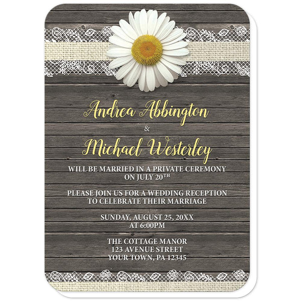 Daisy Burlap and Lace Wood - Daisy Reception Only Invitations (rounded corners) at Artistically Invited