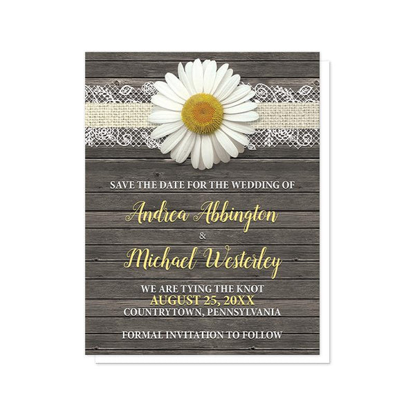 Daisy Save the Date Cards - Daisy Burlap and Lace Wood Save the Date Cards at Artistically Invited