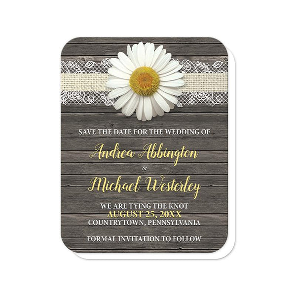 Daisy Save the Date Cards - Daisy Burlap and Lace Wood Save the Date Cards (rounded corners) at Artistically Invited