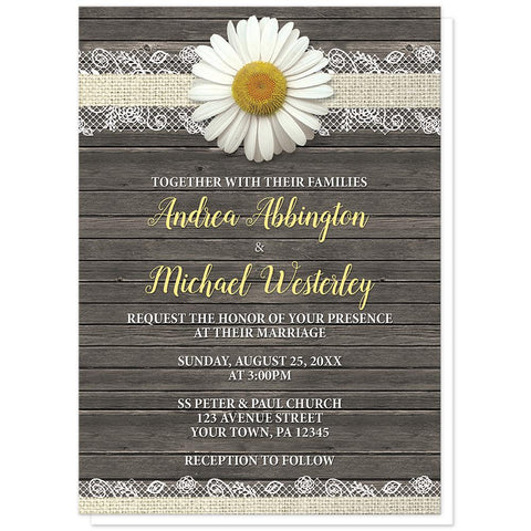 Daisy Burlap and Lace Wood - Daisy Wedding Invitations at Artistically Invited