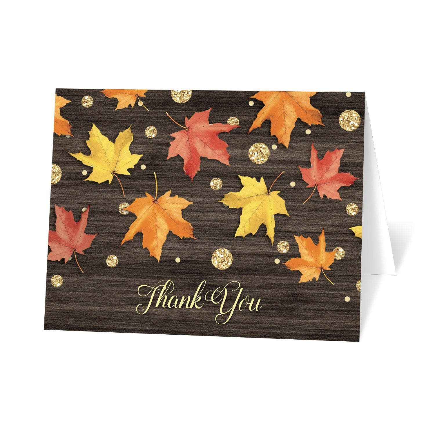 Falling Leaves with Gold Autumn Thank You Cards at Artistically Invited