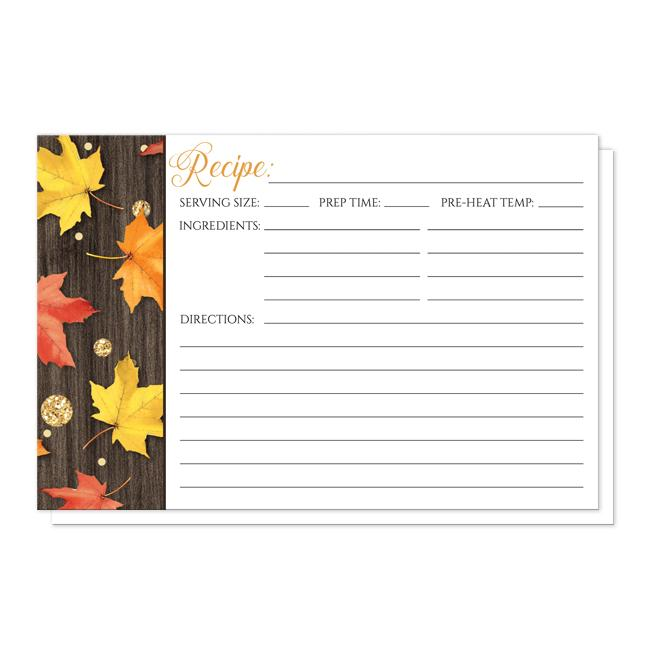 Falling Leaves with Gold Autumn Recipe Cards