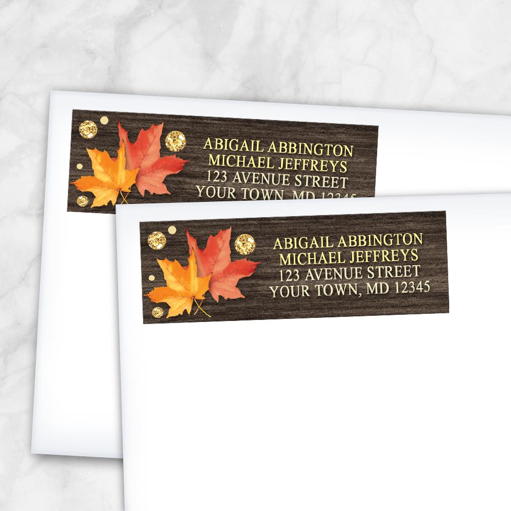 Falling Leaves with Gold Autumn Address Labels at Artistically Invited