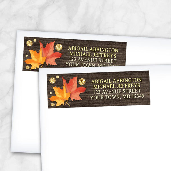 Falling Leaves with Gold Autumn Address Labels