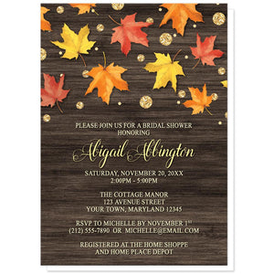 Falling Leaves with Gold Autumn Bridal Shower Invitations at Artistically Invited