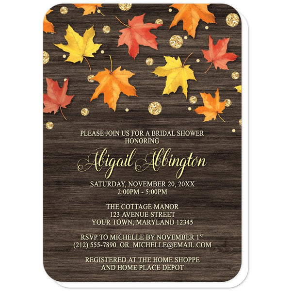 Falling Leaves with Gold Autumn Bridal Shower Invitations (rounded corners) at Artistically Invited