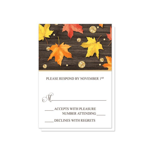 Falling Leaves with Gold Autumn Vow Renewal Invitations