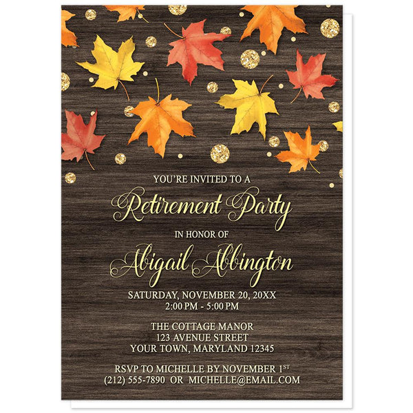 Falling Leaves with Gold Autumn Retirement Invitations at Artistically Invited
