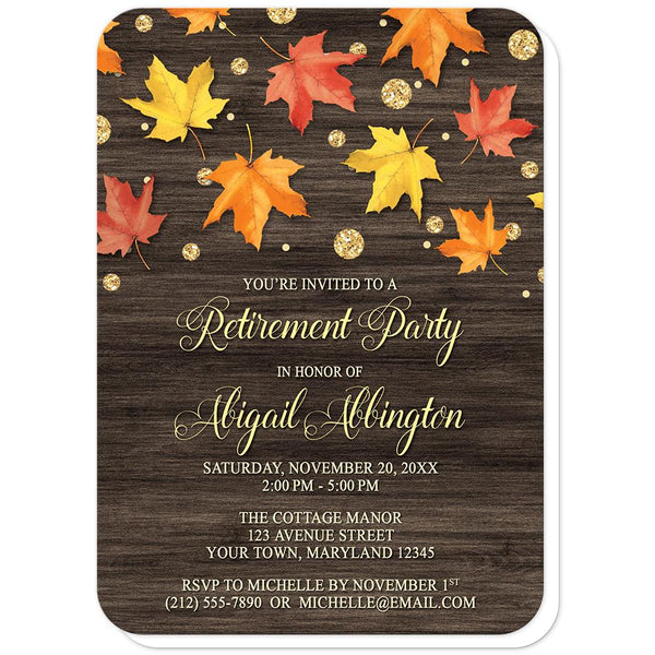 Falling Leaves with Gold Autumn Retirement Invitations (rounded corners) at Artistically Invited