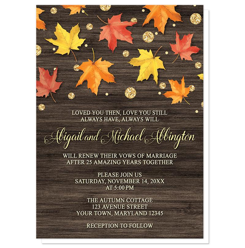 Falling Leaves with Gold Autumn Vow Renewal Invitations at Artistically Invited